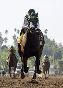 Ruis Racing's Bolt d'Oro and jockey Corey Nakatani win the Grade I, $300,000 FrontRunner Stakes, Saturday, September 30, 2017 at Santa Anita Park, Arcadia CA. © BENOIT PHOTO
