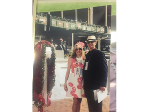 8. Me and my assistant and lovely wife Lisa with the blanket of Roses before the 2015 Kentucky Derby won by American Pharoah