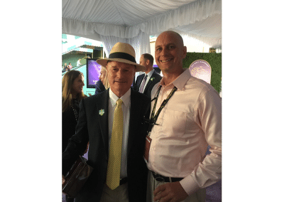 9. Standing with trainer Richard Mandella after his prized mare Beholder won the 2016 Breeders Cup Distaff. She nosed out Songbird at Santa Anita in one of the greatest races ever.