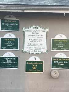 2 The Bob Baffert barn at Churchill Downs just exudes success. You can see from the signs why he is one of the most successful trainers in the game.