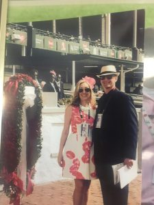 8 Me and my assistant and lovely wife Lisa with the blanket of Roses before the 2015 Kentucky Derby won by American Pharoah